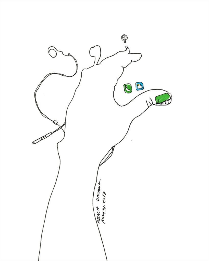 Reach - Line Drawing by Deanne Achong